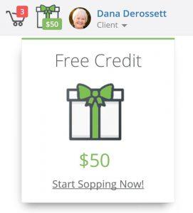 Client Product Credit PopUp