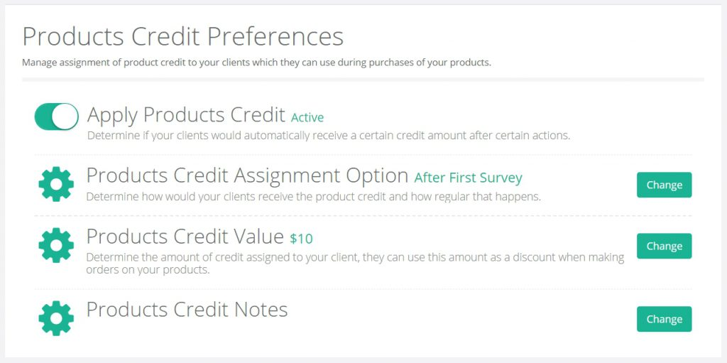 Products Credit Preferences